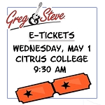 9:30AM - Weds, May 1  E-TICKETS